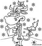 Раскраски новый год дед мороз и олень