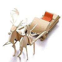 Модели и звери из бумаги Упряжка Деда Мороза