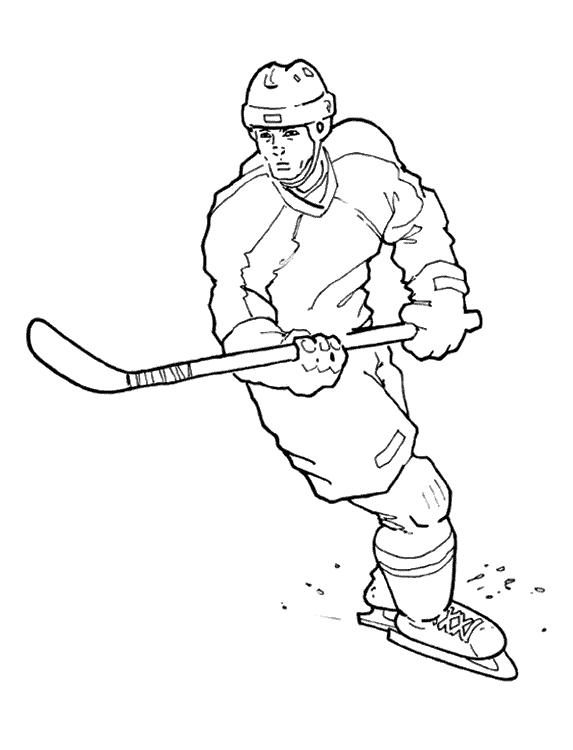 Раскраски хоккей хоккеист плавно