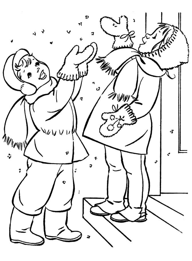 Первый снег Раскраски Раскраски зима