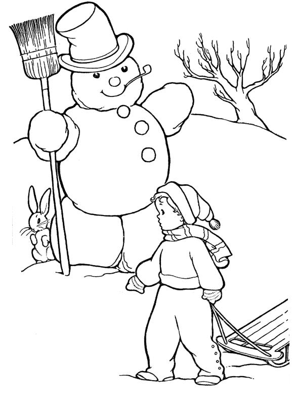 Снеговик Раскраски Раскраски зима