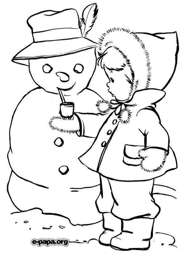 Лепим снеговика Раскраски Раскраски зима