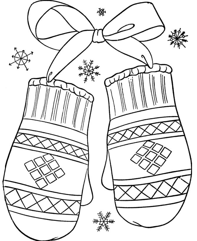Варежки Раскраски Раскраски зима