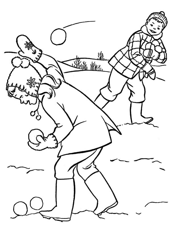 Игра в снежки Раскраски Раскраски зима