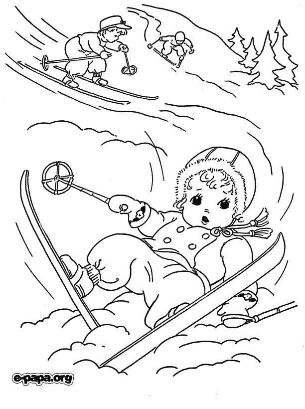 Катание на лыжах Раскраски Раскраски зима