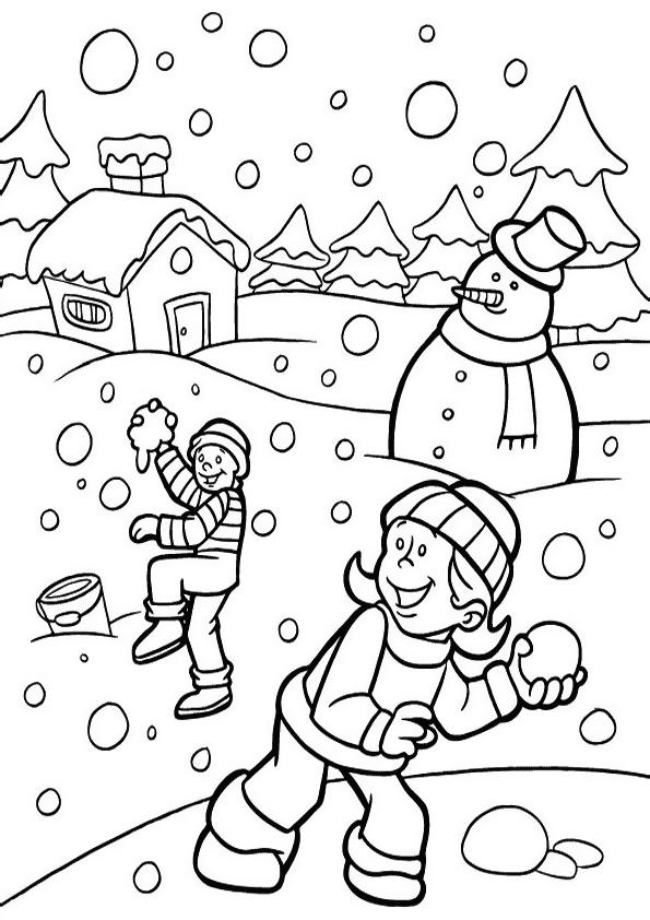 Зимние развлечения Раскраски Раскраски зима