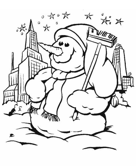 Снежная баба Раскраски Раскраски зима