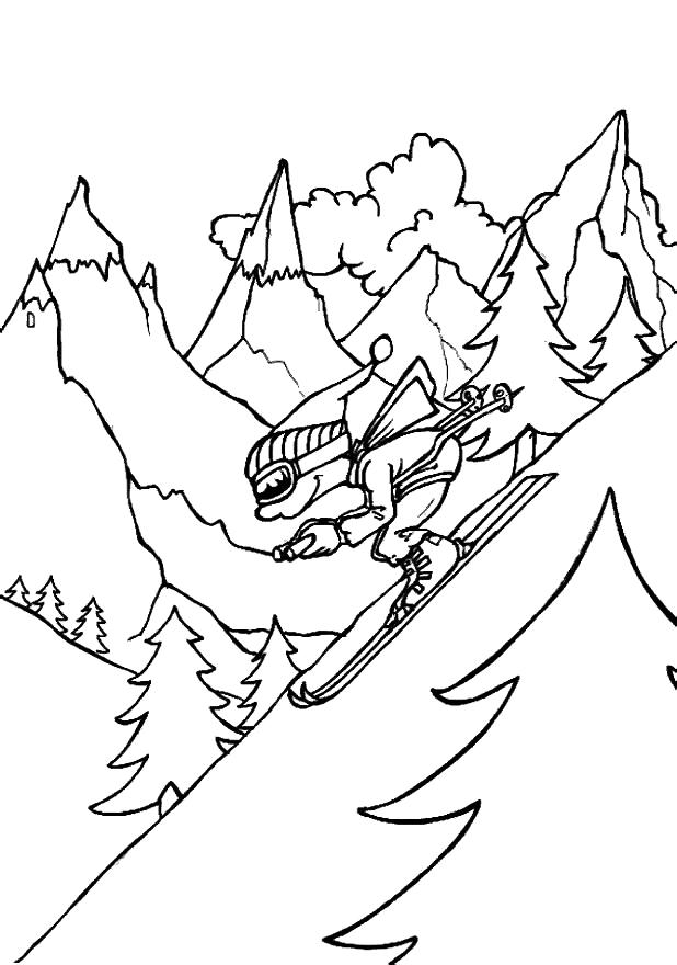 Горнолыжный спорт Раскраски Раскраски зима