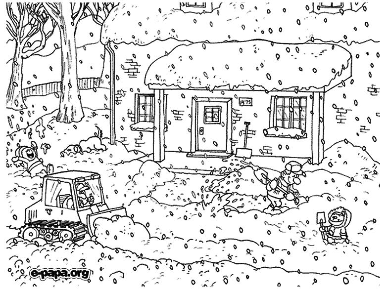 Уборка снега Раскраски Раскраски зима