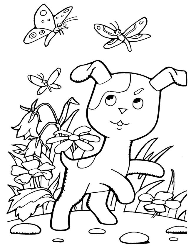 Щенок любит гонятся за бабочками
