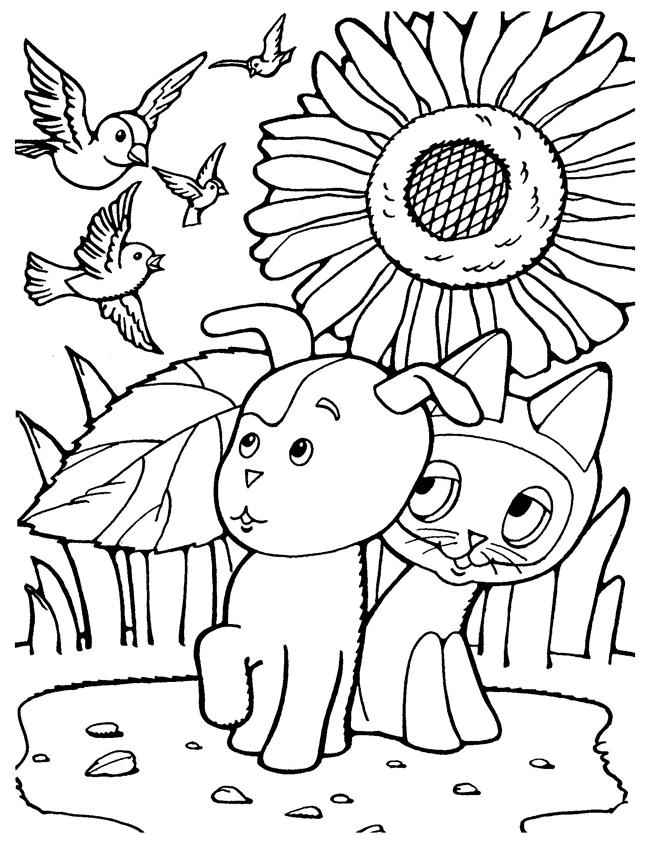 Малыши увидели птиц раскраски котенок