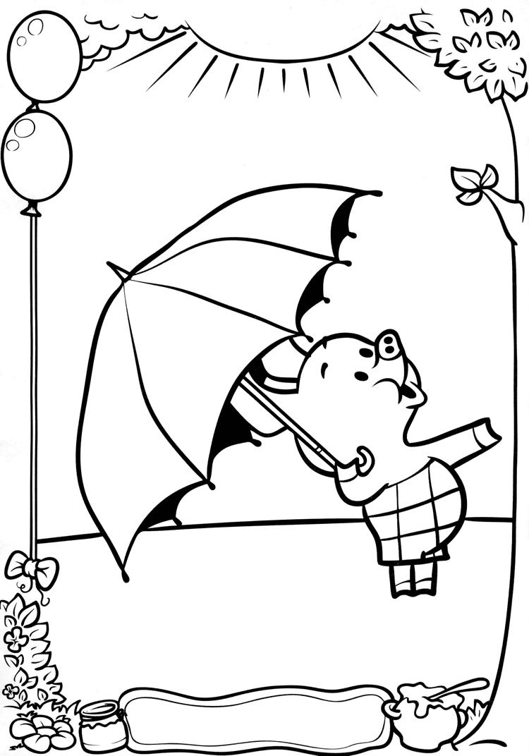 Кажется дождь начинается Раскраски Винни Пух