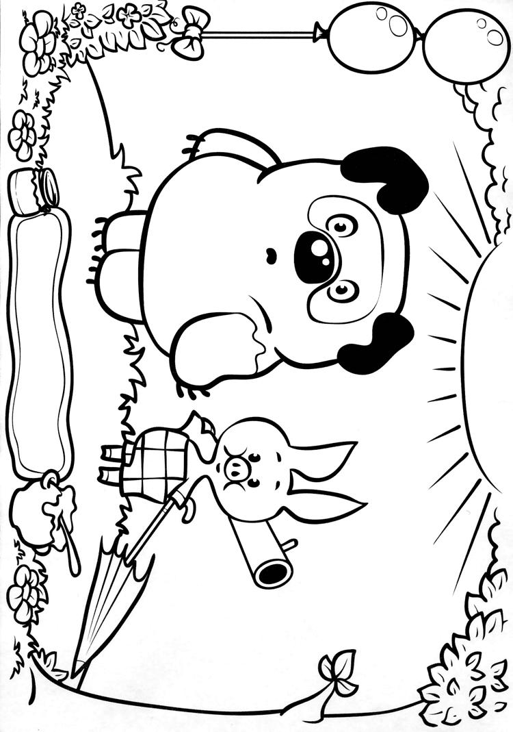 Раскраски для детей Винни Пух упал и не ушибся