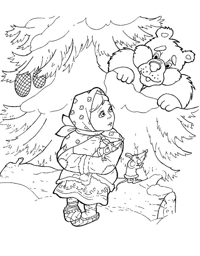 Заколдованный медведь. Раскраски Морозко