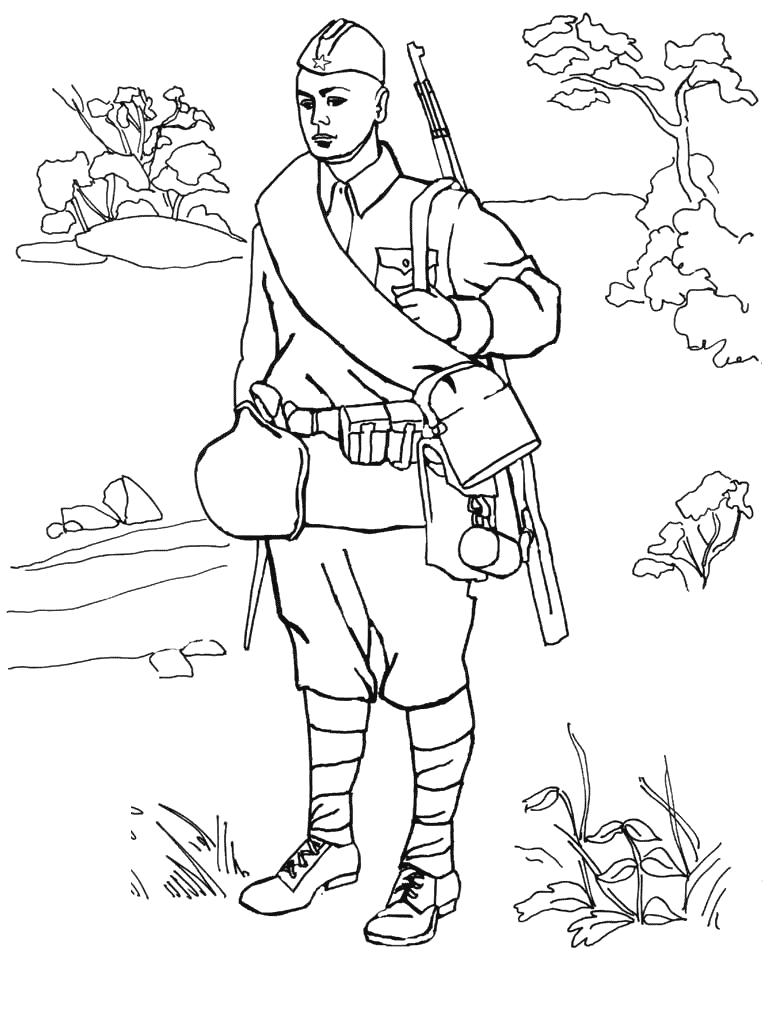 Солдат раскраски 9 мая день победы