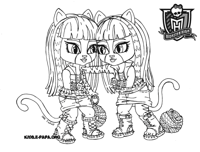 Purrsephone and Meowlody Ausmalbilder Die Monster High-Clique