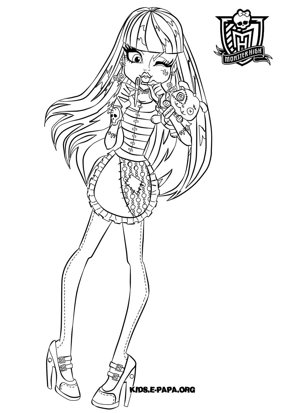 Monster High Ausmalbilder Jinafire : Coloriage Clawdeen Wolf Monster High Frankie Stein Dancing Coloring