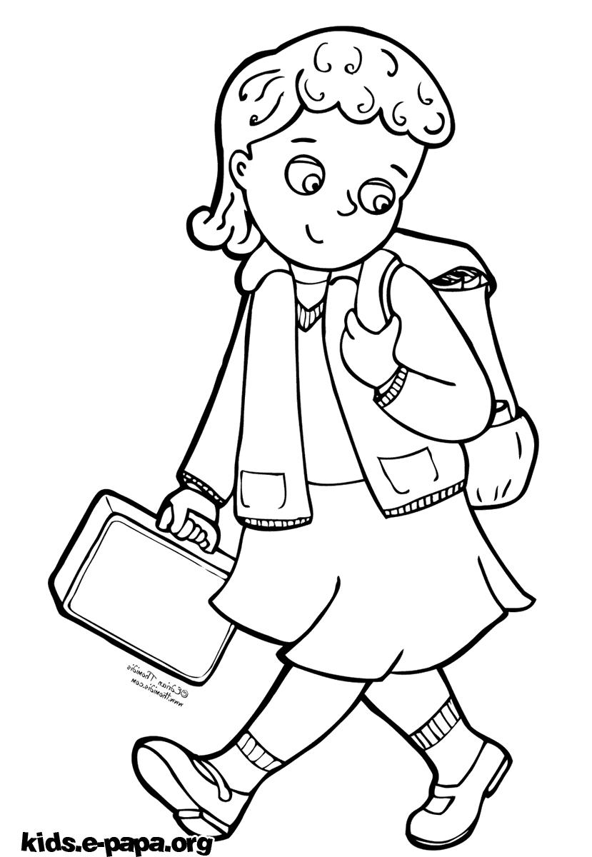 Идущая в школу для раскраски