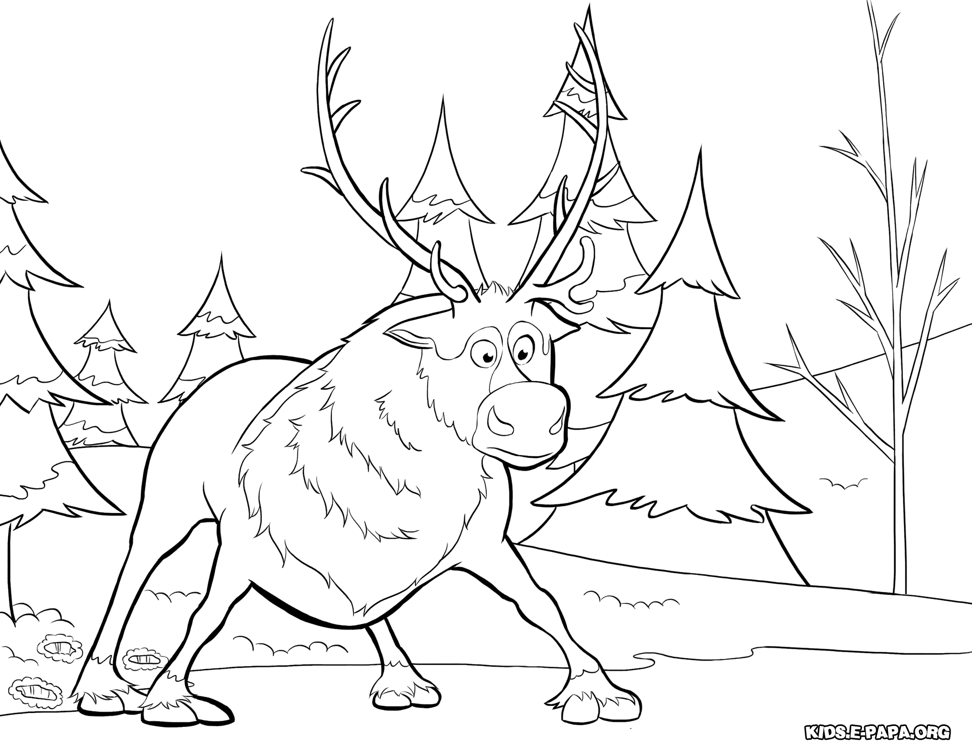Ausmalbilder f r kinder rentier sven for Sven coloring pages