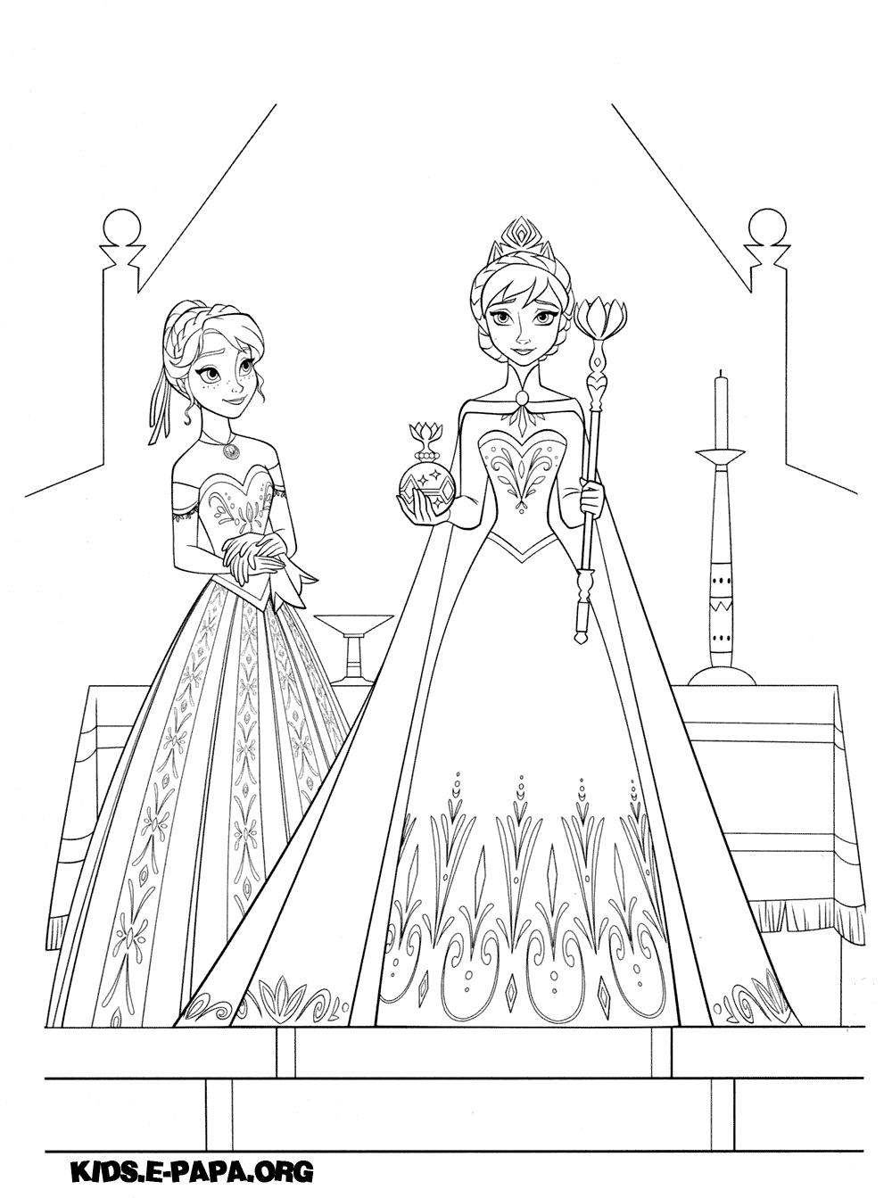 Раскраски для девочек распечатать эльза и анна - 9